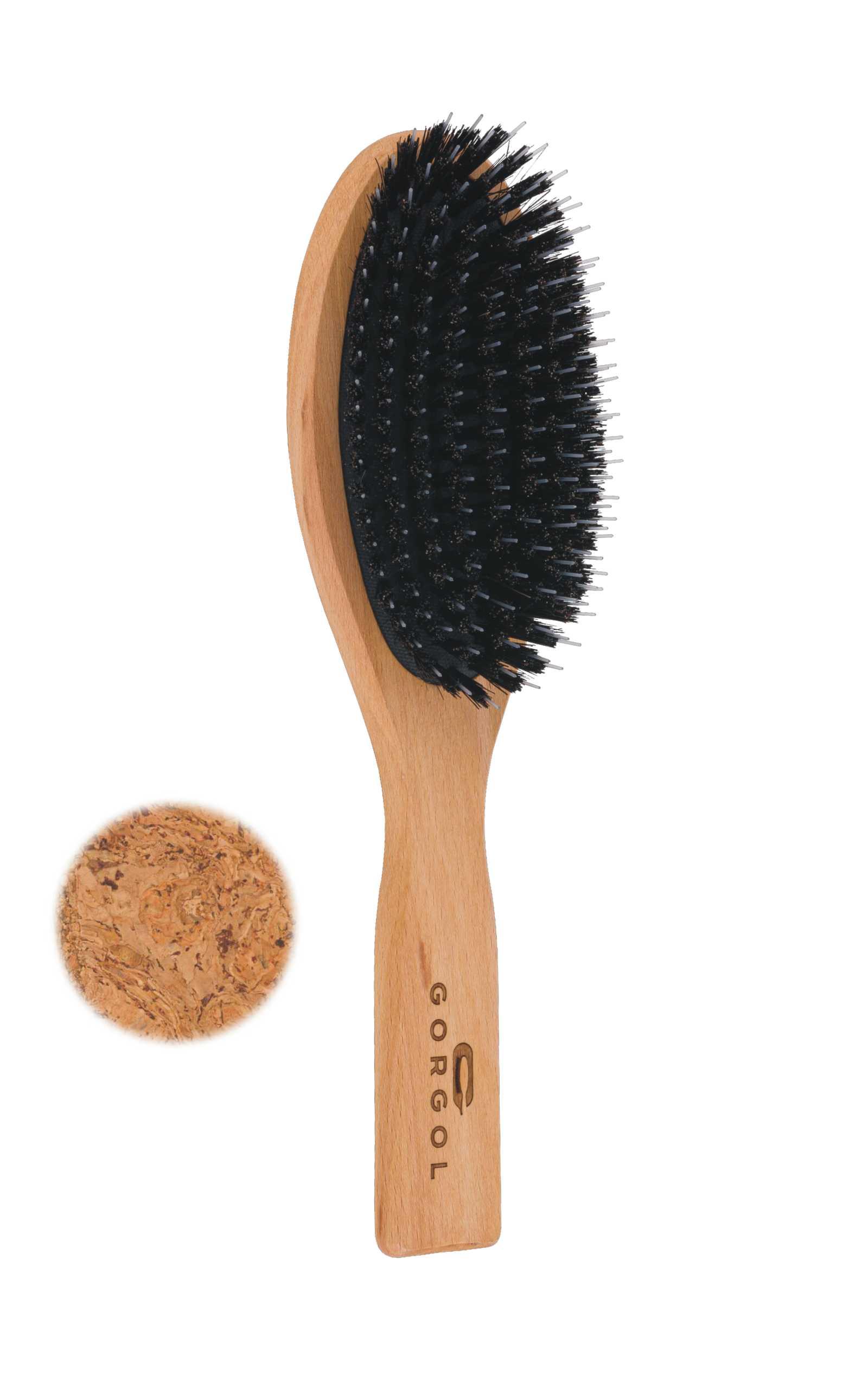 Szczotka z włosiem z dzika - korkowa - rozczesywacz